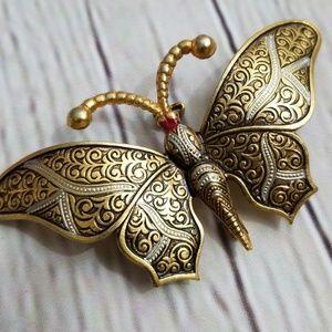 Jewelry - Vintage Damascene Spain Butterfly Brooch